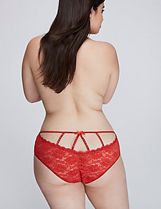 Embellished Strappy-Back Lace Cheeky Panty