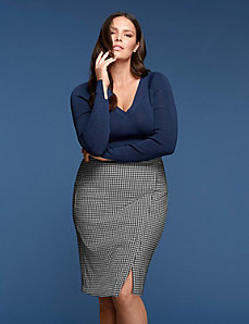Houndstooth Pencil Skirt by GLAMOUR X LANE BRYANT