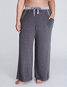 Brushed Jersey Wide Leg Sleep Pant with Grosgrain Ribbon Ties