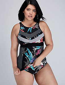 Mixed-Print High-Neck Swim Tank with Built-in No Wire Bra