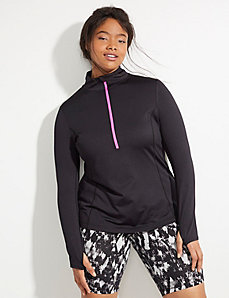 Wicking Half-Zip Active Pullover with Brushed Fabric