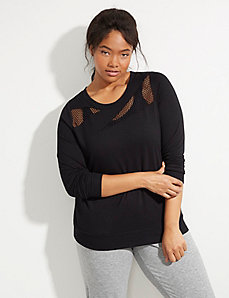 Spa Active Sweatshirt with Mesh Inset