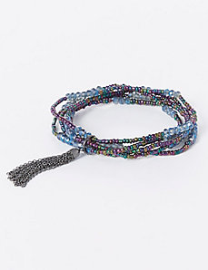 Multi-Row Beaded Stretch Bracelet with Tassel