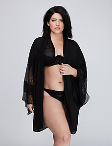 Kimono Robe with Sheer Lace Trim