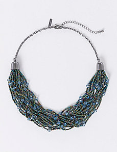 Short Multi-Layer Beaded Statement Necklace