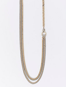 Long Multi-Row Necklace with Circle Detail