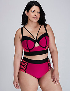 Colorblock Longline Bikini Top with Built-In Balconette Bra