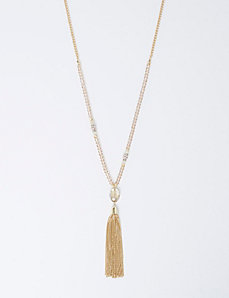 Beaded Necklace with Tassel Pendant