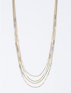 Long Multi-Row Necklace with Blush Tone Stations