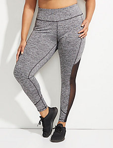 Wicking Marled Active Legging with Brushed Fabric and Mesh
