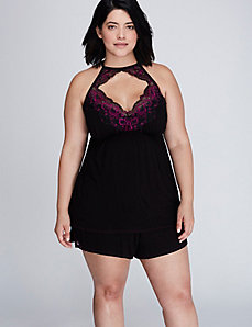 Lace-Trim High-Neck Cami & Short PJ Set