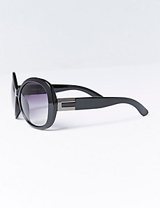 Oversized Round Sunglasses with Metal Detail