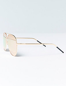 Aviator Sunglasses with Rectangular Mirrored Lenses
