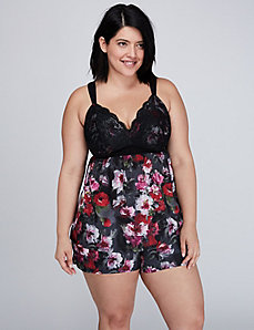 Floral Cami with Lace Cups & Short PJ Set