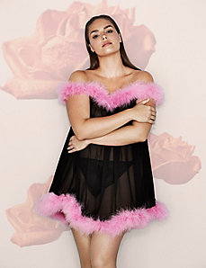 Swing Babydoll with Faux Feather Trim by Sophie Theallet