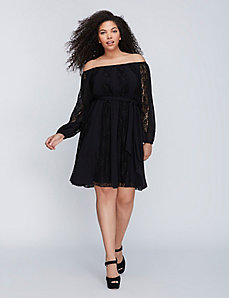 Off-the-Shoulder Lace Peasant Dress
