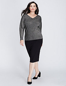 Metallic Double V Sweater