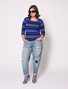 3/4-Sleeve Striped Tee by Christian Siriano