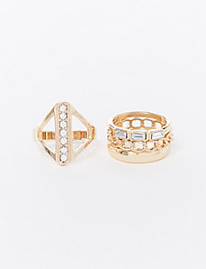 Goldtone 4-Stack Rings