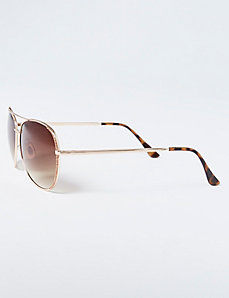 Gold Glitter Aviator Sunglasses