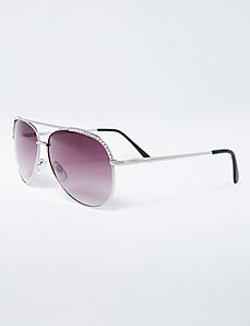 Aviator Sunglasses with Rhinestone Trim