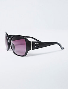 Sunglasses with Rhinestone Heart Detail