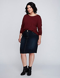 5-Pocket Denim Pencil Skirt with T3 Technology