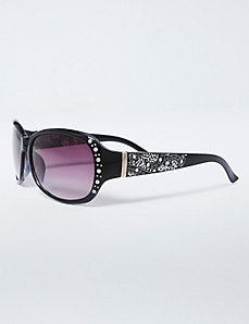 Scroll & Rhinestone Detail Sunglasses
