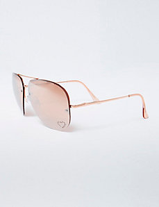 Rose Gold Rimless Sunglasses with Rhinestone Heart