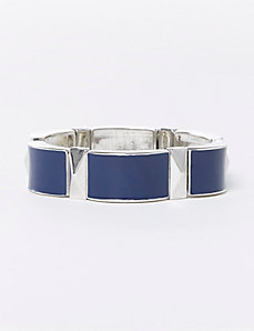 Navy Enamel Stretch Bracelet