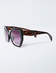 Oversized Geo Sunglasses with Tortoiseshell Arms