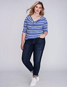 Striped Drape-Neck Tee