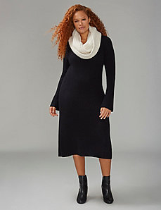 Bell Sleeve Ribbed Sweater Dress