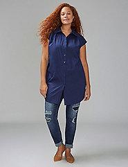 Sleeveless Knot-Front Tunic Shirt