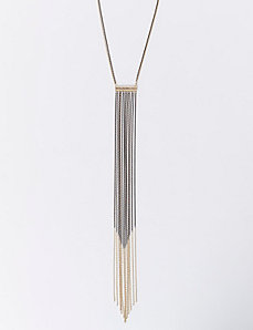 Short Bar Necklace with 2-Tone Chain Fringe