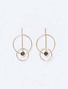 Double Circle & Rock Glitter Earrings