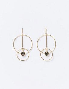 Double Circle & Rock Glitter Earrings