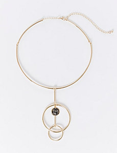 Rock Glitter & Circle Pendant Collar Necklace