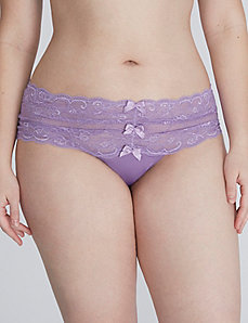 Lace Wide-Side Thong with Bow Detail