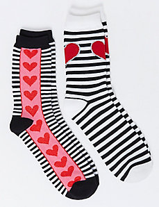 Stripes & Hearts Crew Socks 2-Pack