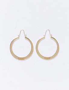 Flat Hoop Earrings with Textured Center