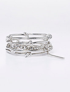 4-Row Knotted Bangles & Stretch Bracelet Set