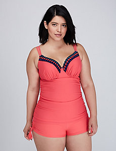 Crochet Trim Swim Tank with Built-In Balconette Bra