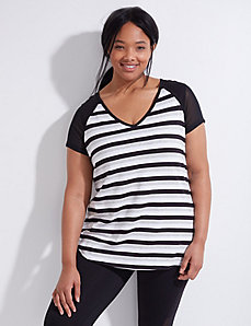 Wicking Striped Active Tee with Mesh Sleeves