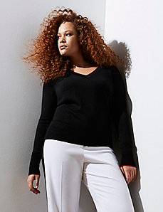 V-Neck Sweater with Contrast Trim by GLAMOUR X LANE BRYANT