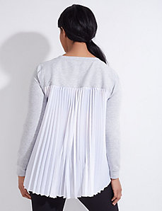 Active Sweatshirt with Pleated Woven Back