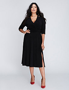 Matte Jersey Faux Wrap Dress with Cutout Details