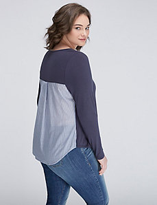 Knit Top with Woven Pleated Back