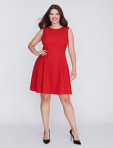 Whipstitch Fit & Flare Dress by Gabby Skye