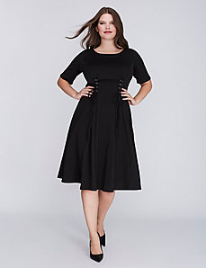 Lace-Up Fit & Flare Dress by Gabby Skye